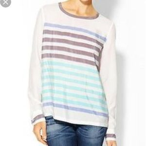 EQUIPMENT Liam Ivory Blue Gray Striped Silk Top